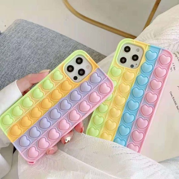 Pop It Fidget Toys Heart Shape Soft Silicone iPhone Case For iPhone 12 11 Pro Max 12