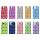Pop It Fidget Toys Pure Color Soft Silicone iPhone Case For iPhone 12 11 Pro Max 11