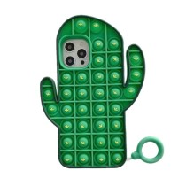 Pop It Fidget Toys Green Cactus Soft Silicone iPhone Case For iPhone 12 11 Pro Max 11