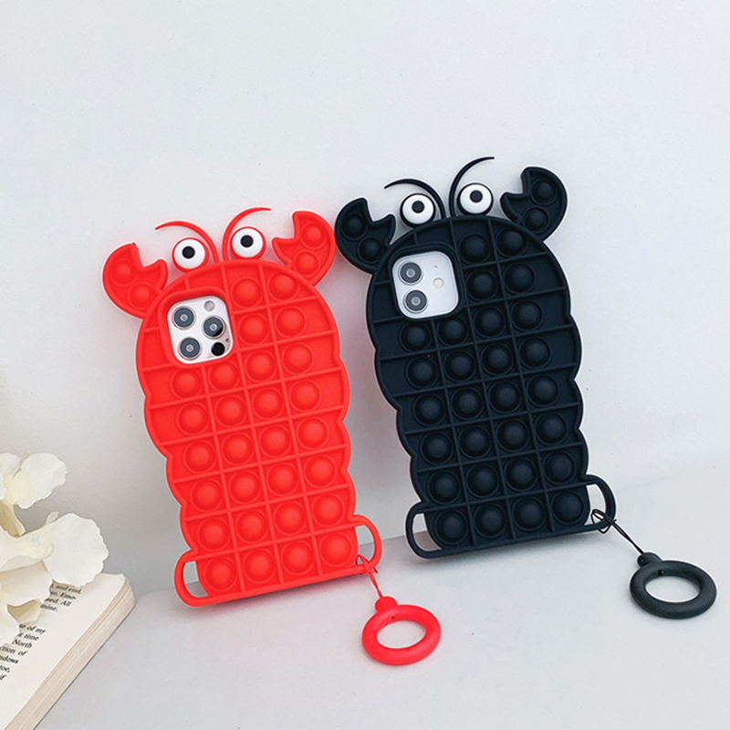 Pop It Fidget Toys Lobster Soft Silicone iPhone Case For iPhone 12 11 Pro Max 12