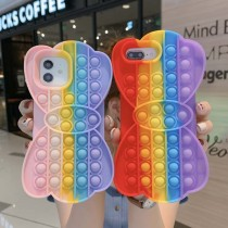 Pop It Fidget Toys Rainbow Bowknot Soft Silicone iPhone Case For iPhone 12 11 Pro Max 12