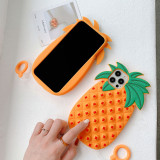 Pop It Fidget Toys Yellow Pineapple Soft Silicone iPhone Case For iPhone 12 11 Pro Max 12