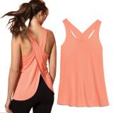 Women Sleeveless Shawl Halter Solid Color Fitness Yoga Vest Cross Back Vest