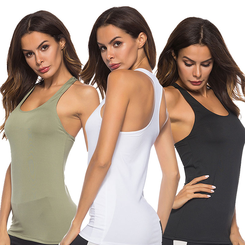 Women Workout Tank Yoga Tops Body-Building Basic Running Exercise Gym Fitness Activewear