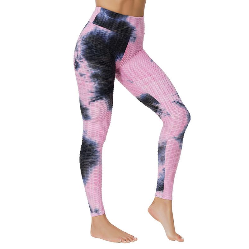 Women Jacquard Tie-Dye Yoga Suit Bubble Yoga Leggings High Waist Hip Lift Exercise Fitness Pants