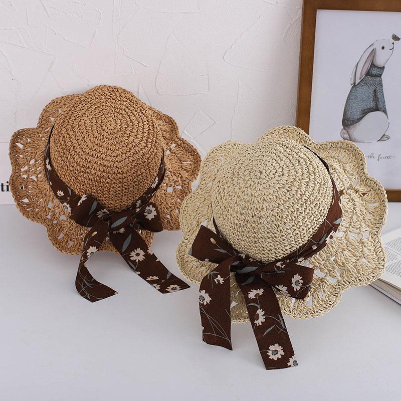 Kids Anti-UV Crochet Flowers Bowknot Summer Hat