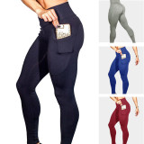 Women Seamless High Waist With Phone Pocket Tummy Control Tight Hip Running Stretch Workout Fitness Pants