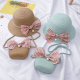 Kids Plaids Pearl Bowknot Straw Beach Sunhat With Bag Sets