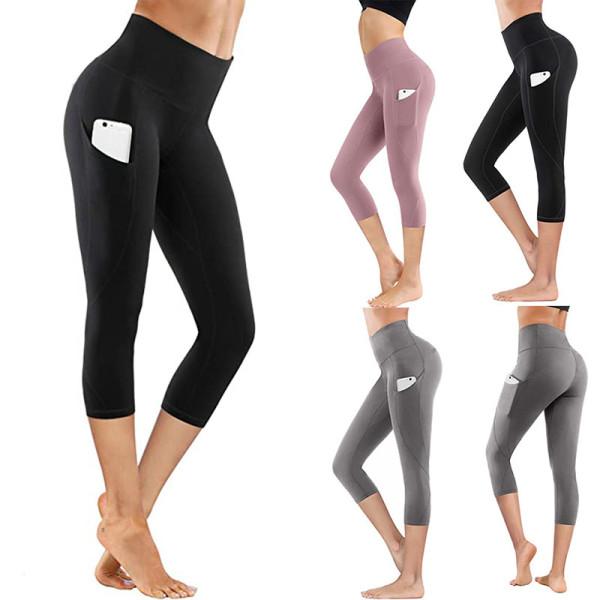 Women High Waist With Pocket Yoga Pants Tummy Control Running Workout Fitness Yoga Leggings