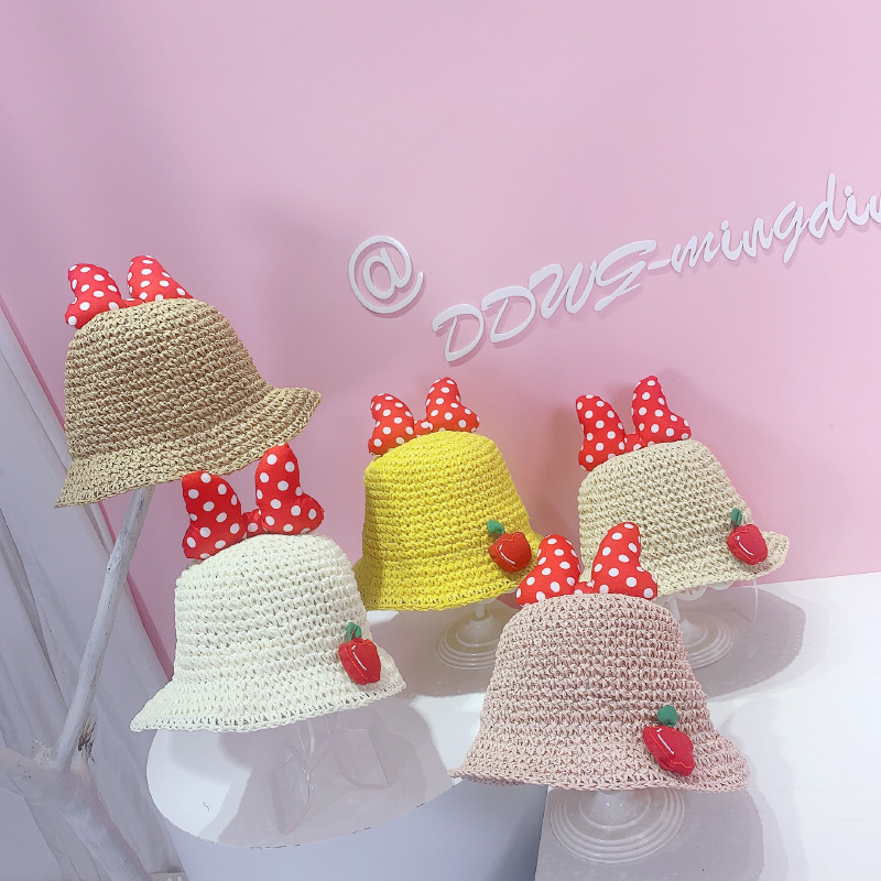 Kids Dots Bowknot Red Strawberry Straw Sunhat