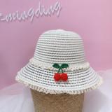Kids Cute Cherry Lace Crochet Straw Sunhat Fisherman Cap