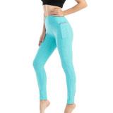 Women Fashion Pocket Bubble Yoga Leggings High Elastic-lifting Buttocks Slimming Sweat Absorbing Pants