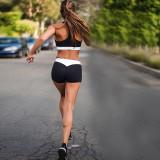 Women Collision Color Sport Bra Shorts Splicing Yoga Set Outfit Track Suit