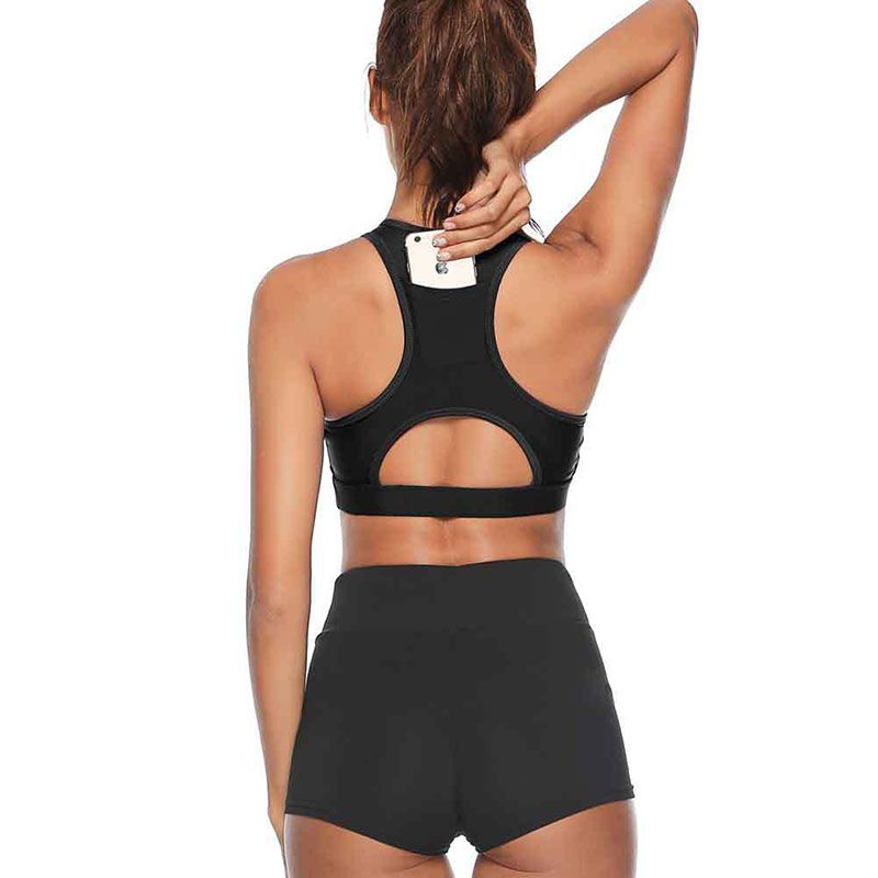 Women Hot Style Fitness Beauty Yoga Bra With Phone In Back Sport Bra