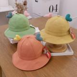 Kids Cute Heart Protection UV Sunhat Bucket Hat Fisherman Cap