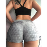 Women High Waist Jacquard Butt Lifting Yoga Leggings Fitness Exercise Lace Up Workout Short Pants