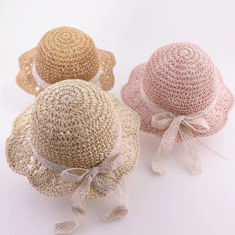Kids Bow Crochet Straw Summer Beach Sunhat