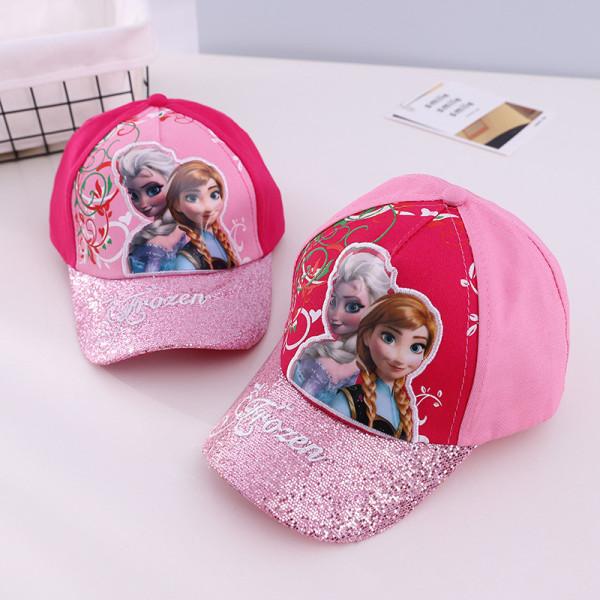 Kids Embroidery Frozen Shining Sunhat Sequins Baseball Cap