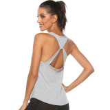 Women Loose Sexy Hollowed-Out Cross Back Exercise Yoga Activewear Workout Vest Tank Tops