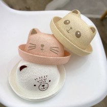 Kids Anti-UV Cute Embroidery Cat Bear Top Hat Topless Summer Bucket Hat Cap