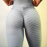 Women High Waist Buttocks Jacquard Bubble Yoga Leggings Tight Workout Fitness Pants
