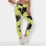 Women Tie-Dyed Bubble Yoga Leggings Slim Buttock Exercise Workout Fitness Pants