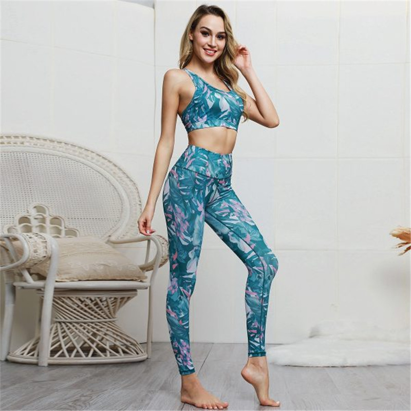 Women Sleeveless Design Leaf Flower Yoga Fitness Exercise Clothes Outfit Set