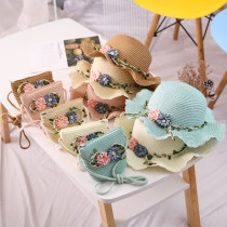 Kids Flower Straw Beach Sunhat With Bag Set