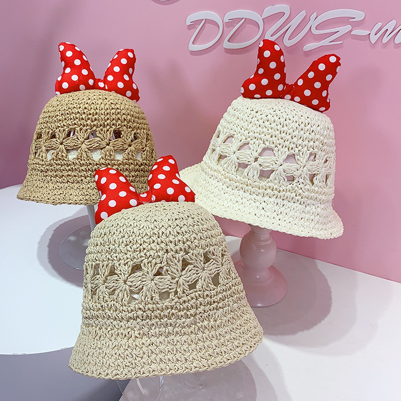 Kids Dots Bowknot Hollow Out Straw Sunhat