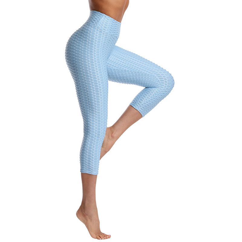 Women High Waist Butt Control Slimming Booty Yoga Leggings Seven Jacquard Fitness Pants