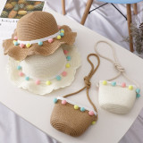 Kids Colorful Pompoms Straw Beach Sunhat With Bag Set