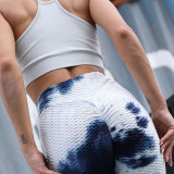 Women Jacquard Tie-Dye Yoga Leggings Slim Buttock Exercise Workout Fitness Pants