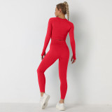 Women Knitted Seamless Long Sleeve Workout Fitness Pants Yoga Sports Two Piece Sets
