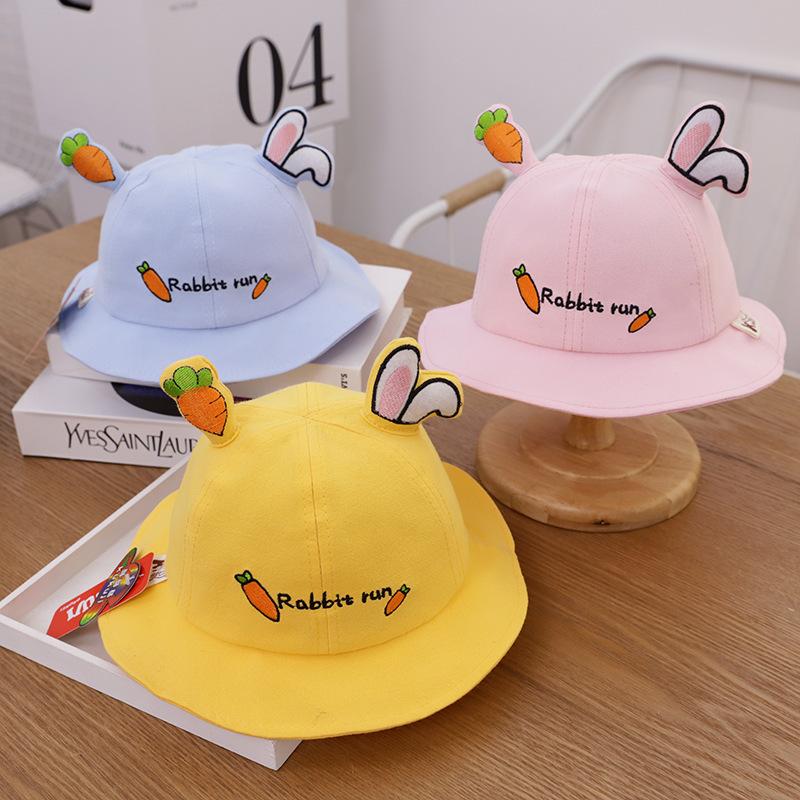 Kids 3D Rabbit Ears Carrot Sunhat Bucket Hat Fisherman Cap