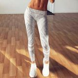 Women Black And White Striped Printed Fitness Yoga Leggings Workout Pants