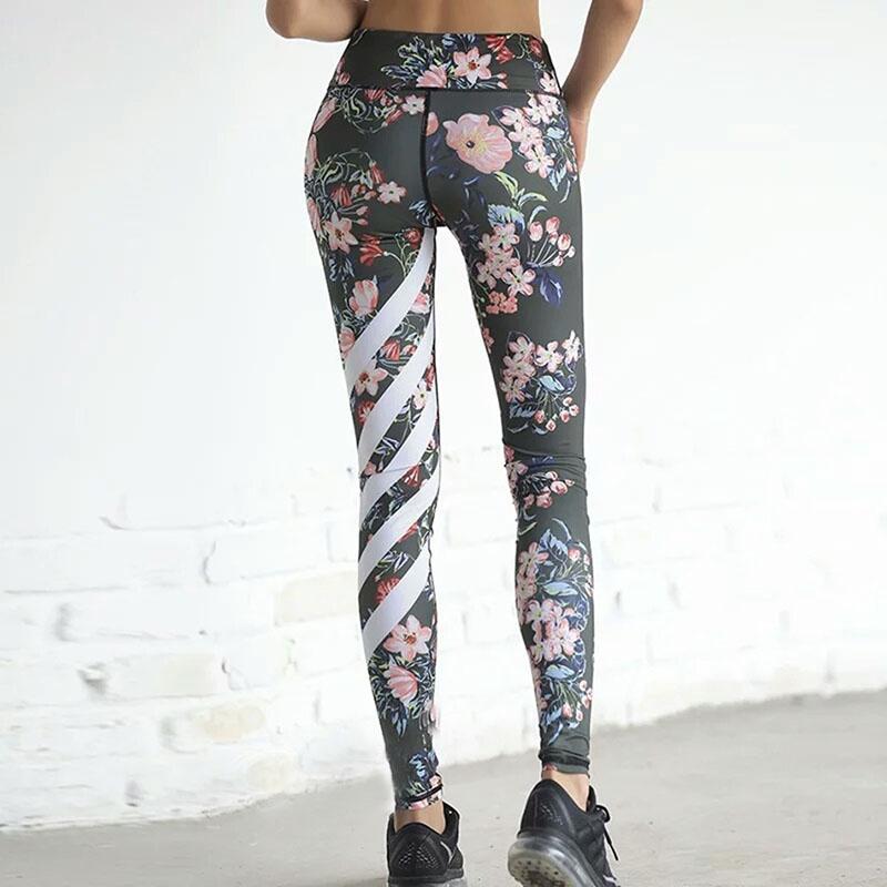 Women Stripes Printed Tight Yoga Leggings Workout Sports Running Athletic Pants