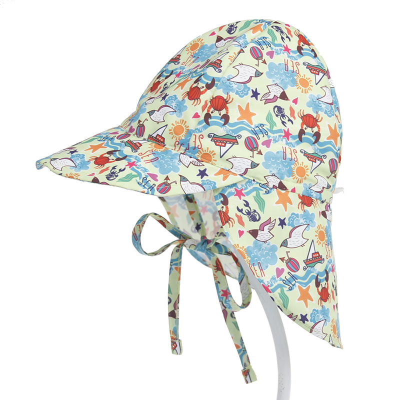 Kids Baby Breathable Mesh Prints Pattern Outdoor Flap Sunhat Face Cap