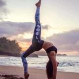 Women Lunar Eclipse Starry Sky Gradual Print Yoga Leggings Workout Sports Running Athletic Pants
