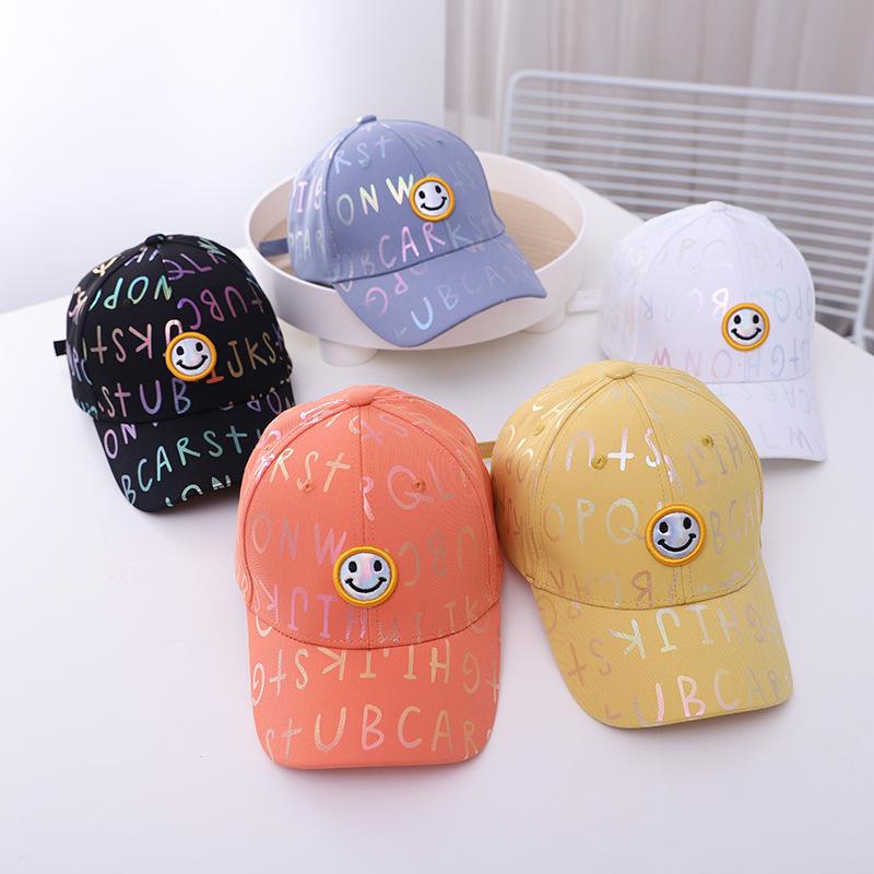 Kids Rainbow Letters Smile Face Sunhat Baseball Cap