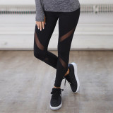 Women High Waist Fork Mesh Splicing Collision Color Hip Yoga Leggings Fitness Pants