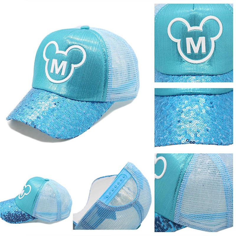 Kids Mickey Sequins Hip-hop Breathable  Sunhat Baseball Cap