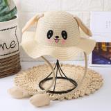 Kids Cute Rabbit Move Ears Sunscreen Straw Sunhat