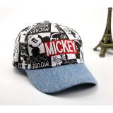 Kids Denim Prints Mickey Sunhat Baseball Hip-pop Cap