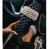 Women Pearl Diamond Flat Summer Sandals Slippers