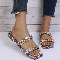 Women Metal Cufflink Leopard Print Sandals Slippers