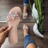Women Bling Diamond Jeweled Rhinestone Flat Sandals Slippers