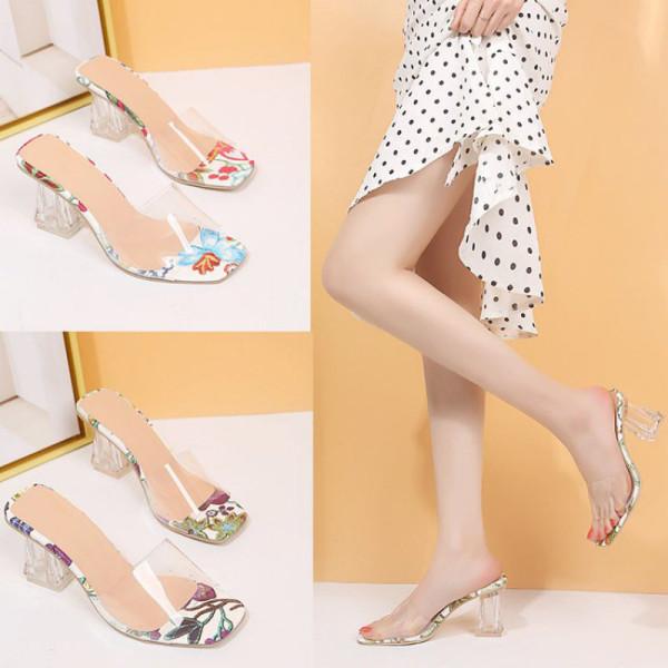 Women Flowers Transparent High Heels Sandal Pump Shoes