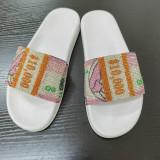 Women Bling Rhinestone Dollar Flat Platform Sandals Slippers