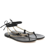 Women Sexy Metallic Chain Ankle Flip Flops Lace Up Flat Sandals