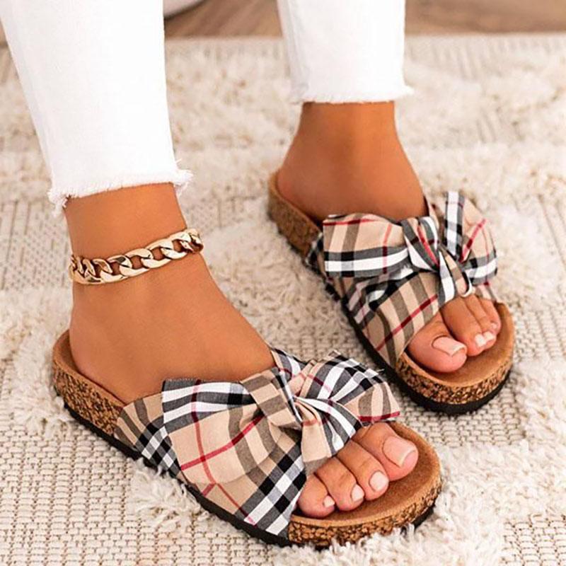 Women Classic Plaids Bowknot Slippers Sandals